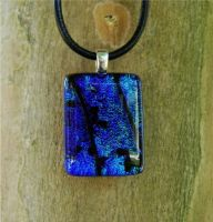 Blue Green Fused Glass Pendant by FusedElegance
