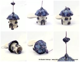 Purple Lavender House - Ceramic Bell by vavaleff