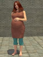 Pregnant Silvia full figure standing by Manigus