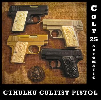 Cthulhu Cultist Colt 25 Automatic Pistol by zombiequadrille