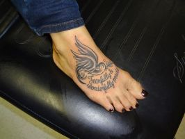 Girly Black And Grey Bird Tattoo On A Foot By  by kmgsucks