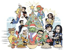 Teen Titans Christmas 2010 by BillWalko