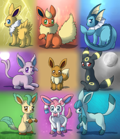 Eeveelutions redux by DreamyNormy