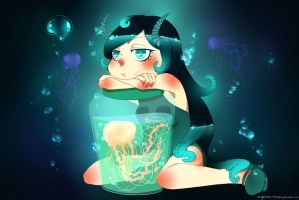 Wallpaper: Underwater Demon and her jellyfish by Kehmy