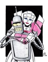 Bender and Arcee by MichaelPowellArt