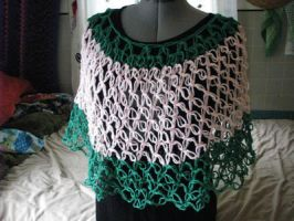 Pink and Green Crocheted Poncho by sarlaz