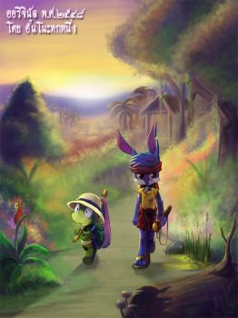 Rabbit and Turtle by aun61