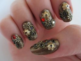 Steampunk Nails by JofoKitty