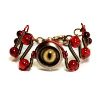 Steampunk Red Beholder Eye Bracelet by CatherinetteRings