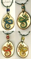 Elemental Dragon Pendants by Foxfeather248