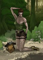 Lara wounded in a forest by Kaorikiki