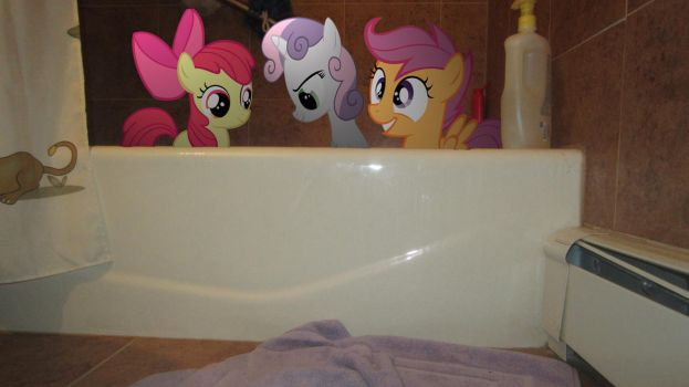 The Cutie Mark Crusaders take a bath by MetalGriffen69