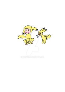 Chibi Pikachu and the real Pikachu  by noobpinky