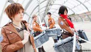 Attack on Titan: Eren, Mikasa, Jean and Bertold by Rael-chan89