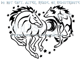 Horse And Wolf Starry Heart Design by WildSpiritWolf