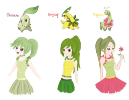 chikorita, bayleef and meganium by tieknots
