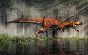 T-Rex in a Flooded Forest by deskridge