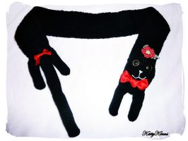 Red Bows Black Kitty Scarf by Cateaclysmic