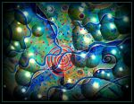 blue bubble red spiral by santosam81