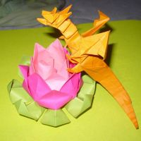 Dragon on a Lotus Flower by karidcha