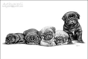 Pug puppies by ArtbyKerli