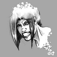 Angry Woman Sketch by SabreWing