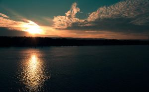 Sunset Over The Columbia River by designerfied