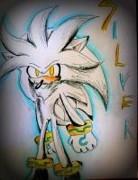 Silver hedgehog, blue aura by iheartsonic
