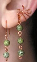 Copper Jade Earring Set by lavadragon