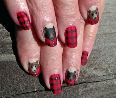 20140118 Bears in Flannel by m-everhamnails