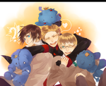 APH+HetaEst: Three Blue Lions by StarlitHoliday