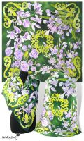 Silk scarf 'Baroque Flowers' - FOR SALE by MinkuLul