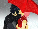SasuSaku - red umbrella by AniiTaRuiz