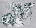 Critter Sketches by VixieArts