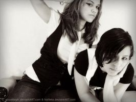 Holly and me BW by alouetteph