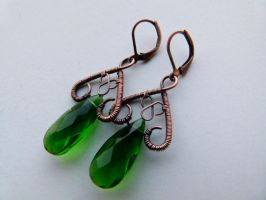 Green Teardrops by SilverDeFactory