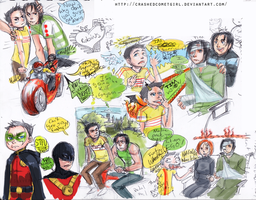 Robins At Play Sketches by CrashedCometGirl