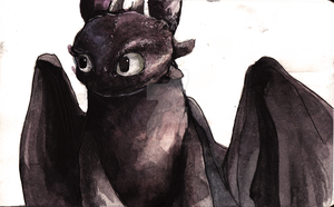 Toothless Watercolour... again by Dreamsoffools