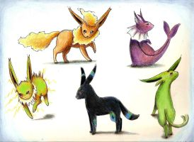 Shiny Eeveelutions by MusicMew