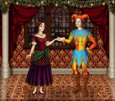Christmas Eve carnival - Jester and Paquita by Arrelline