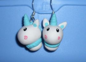 blue nici unicorn earrings by RainbowMisa