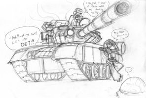 Kim Possible vs T-80 tank by Sanity-X