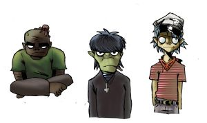 GORILLAZ MURDOC RUSSEL and 2D by Jigsawlacrimosa