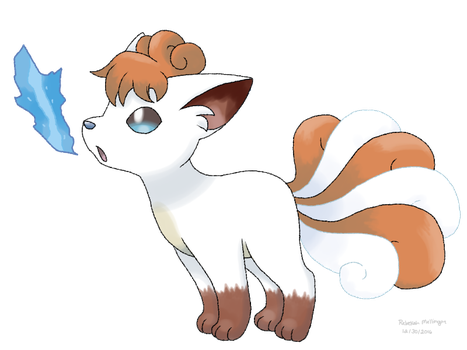 Crossbreed Vulpix - New Art - Inverted colours by Glitchedmew