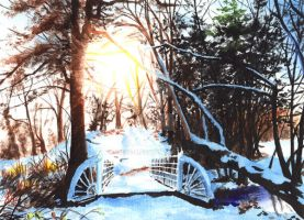 Snow Bridge - painting for sale by rieke-b