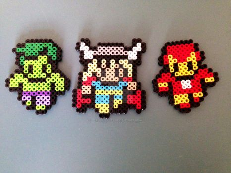 Small Hulk, Thor, and Iron Man! by PerlerzByRex