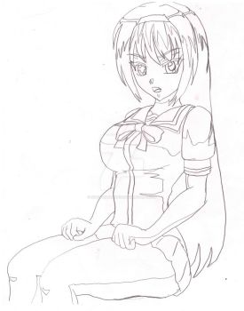 Shion Kamishi - Sitting Down - With School Clothes by NoctusLucius15