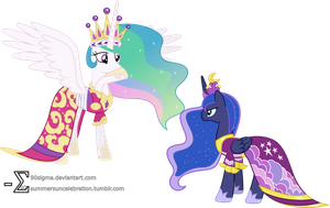 Luna Confronts Celestia (Coronation Dresses Ver.) by 90Sigma