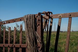 Rusted Fence with a Rope by Danimatie