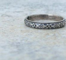 Floral Silver Ring Antiqued Bouquet Band by SilverSmack